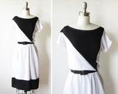 1980s dress / black and white new wave dress / diagonal day dress