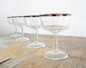 champagne glasses, silver rim champagne glasses, mid century coupe glasses