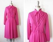 1980s hot pink dress dress / vintage bright  pink ruffled day dress