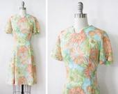 SALE 1960s floral dress /  vintage 60s floral garden party dress / vintage watercolor dress