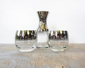 silver roly poly glasses with decanter / mad men glasses / 1960s mid century barware / silver ombre glasses
