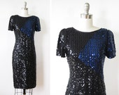 RESERVED black sequin dress / 1980s black and blue sequin party dress