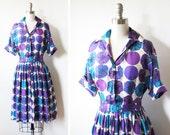 1950s dress / silk dress / mid century floral dress