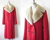 RESERVED vintage 60s red peacoat / 1960s winter princess coat / faux fur trim
