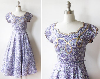 1950s party dress, vintage 50s purple floral dress, xs fit and flare dress