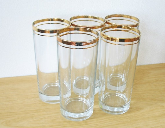 vintage 60s gold rimmed high ball tumblers - set of five