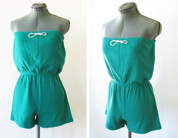 vintage 70s 80s emerald green terry cloth romper