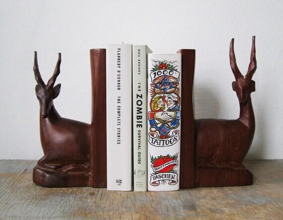 vintage gazelle carved wood bookends