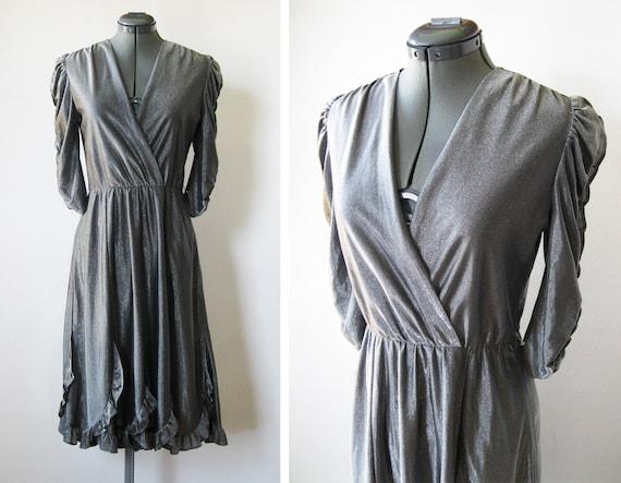 vintage 70s silver dress / faux wrap / sparkle