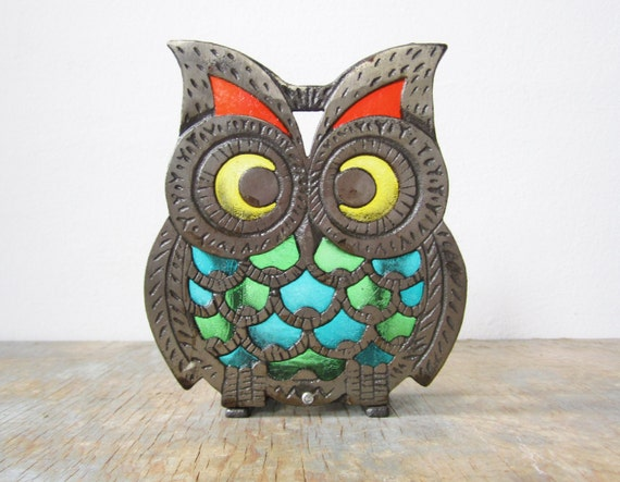 vintage rustic cast iron and stained glass owl napkin holder