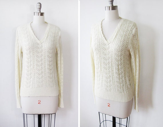 RESERVED 25% OFF SALE 70s sweater / pointelle knit sweater / french vanilla