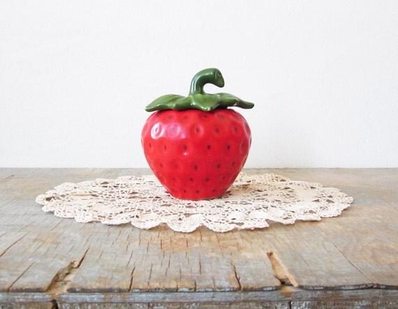ceramic strawberry sugar bowl / jam pot