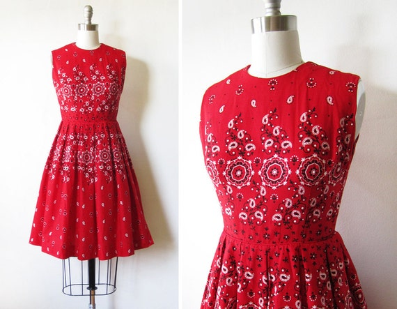 LUCKY SALE vintage 60s dress / bandana print / by RustBeltThreads
