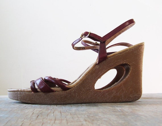 70s Wedges Cut Out Wedges Platform Sandals Yo Yos By