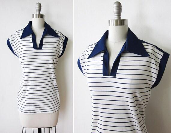 nautical shirt / sailor striped top / navy blue and white shirt