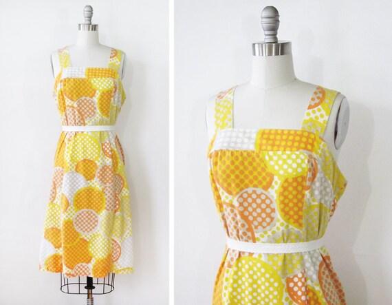 polka dot sundress / 60s orange and yellow mod dress