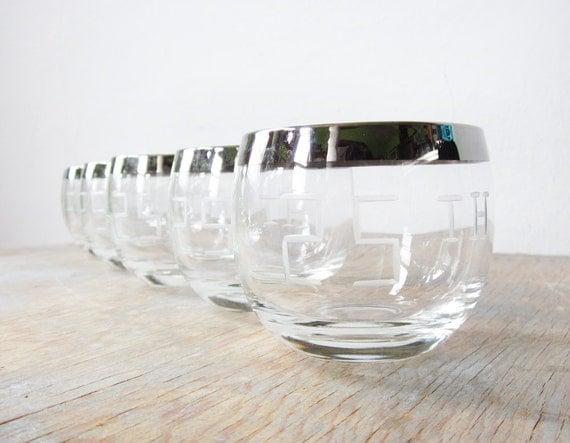 1960s mad men glasses / 25th anniversary engraved glasses