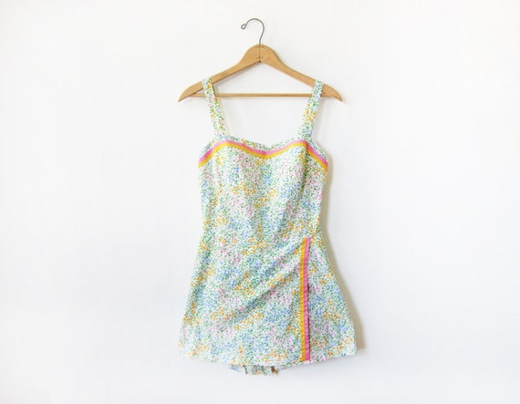 RESERVED  vintage cotton swimsuit / 80s floral bathing suit / playsuit romper