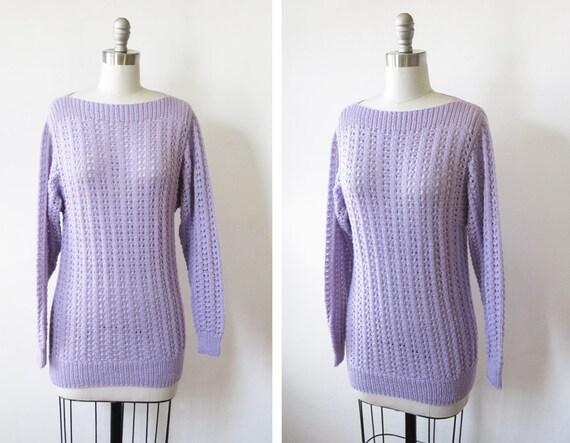 purple sweater / vintage 80s pointelle knit sweater