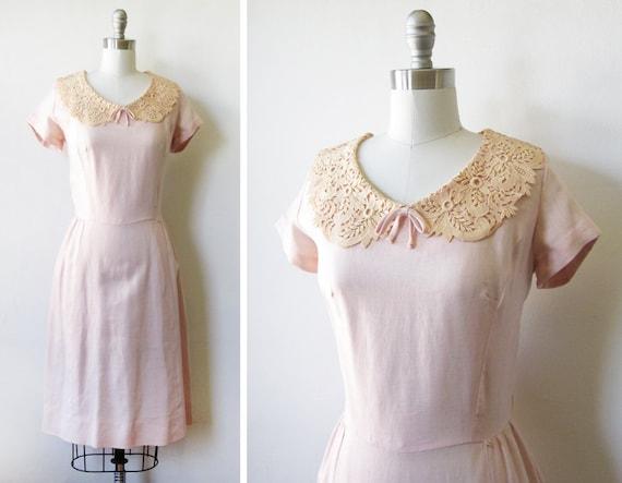 1950s dress / vintage 50s pink linen lace dress / party pink dress