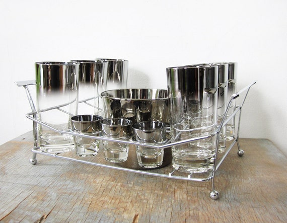 mad men cocktail set / silver mid century glasses with serving tray