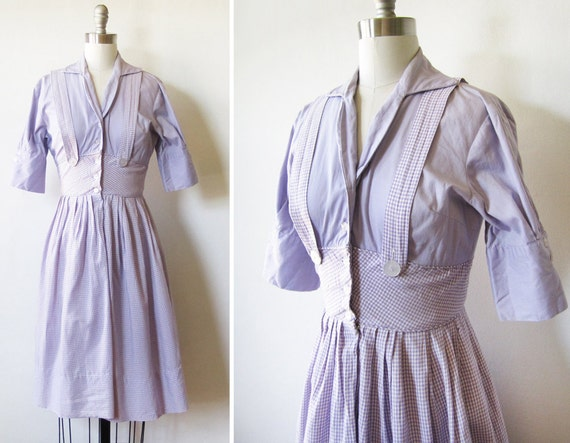 RESERVED 50s shirtwaist dress / vintage purple gingham dress