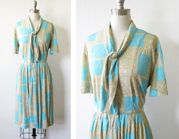 1960s mod dress / vintage 60s gray aqua day dress / mid century shirtwaist dress with full skirt