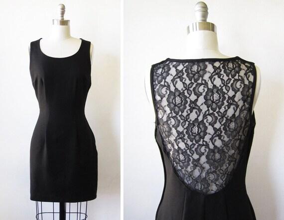 vintage 80s dress / black lace / as is