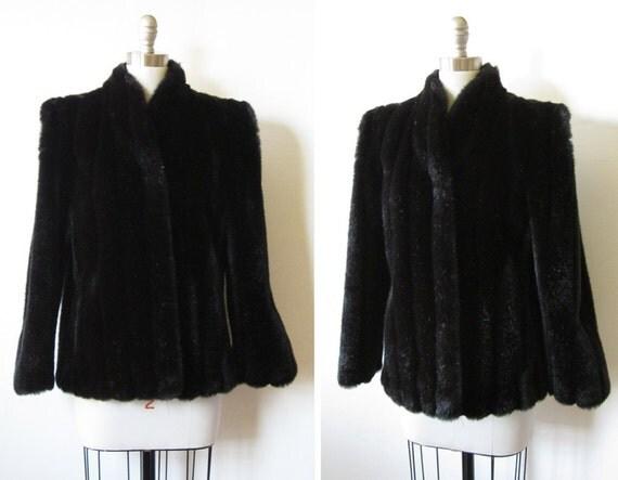 black faux fur coat / vintage 80s jacket