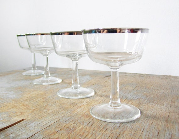 champagne glasses, silver rim champagne glasses, mid century coupe glasses