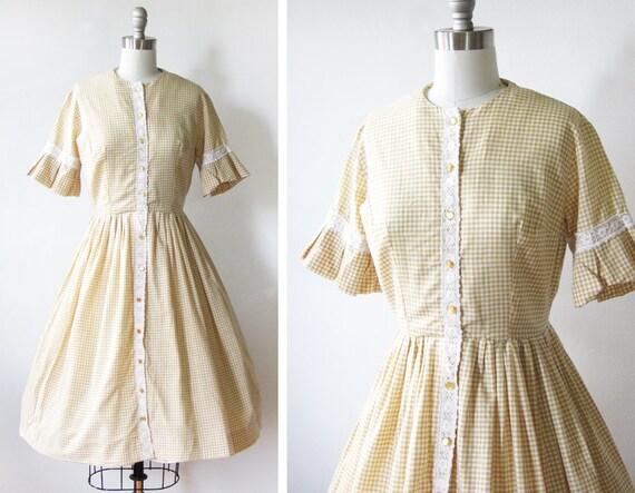 vintage 60s gingham dress / 1960s mid century cotton dress