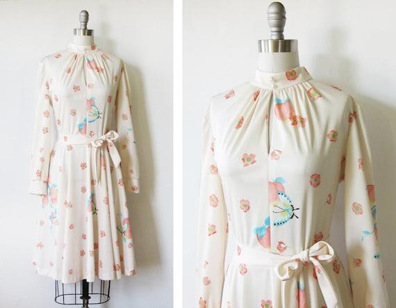 1970s dress / vintage 70s light peach floral dress / pastel peach butterfly dress