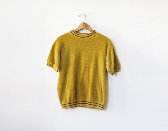 1960s shirt / vintage 60s goldenrod shirt / 1960s mens striped knit pullover