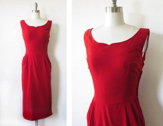 50s red velvet dress /  cocktail dress / mad men fashion
