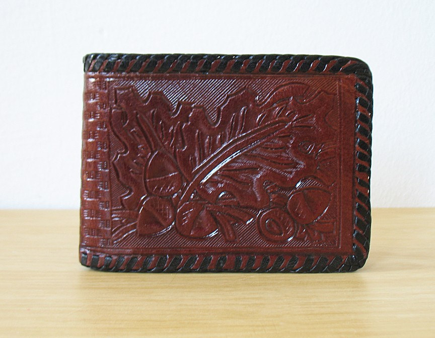 Vintage Mexican Hand Tooled Leather Wallet With By