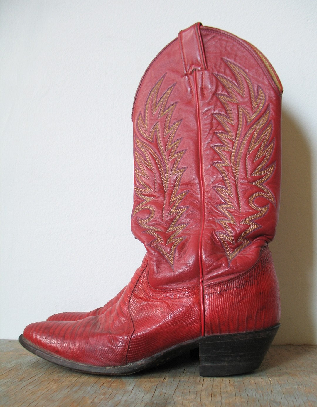 Vintage 70s 80s Justin Red Cowboy Boots Men 6 B Women 7