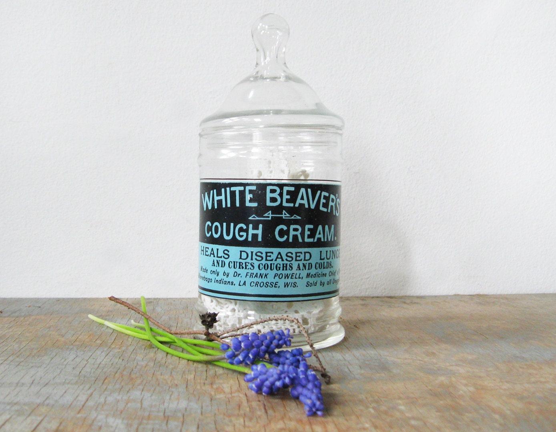 Apothecary Jar Vintage White Beaver S Cough Cream