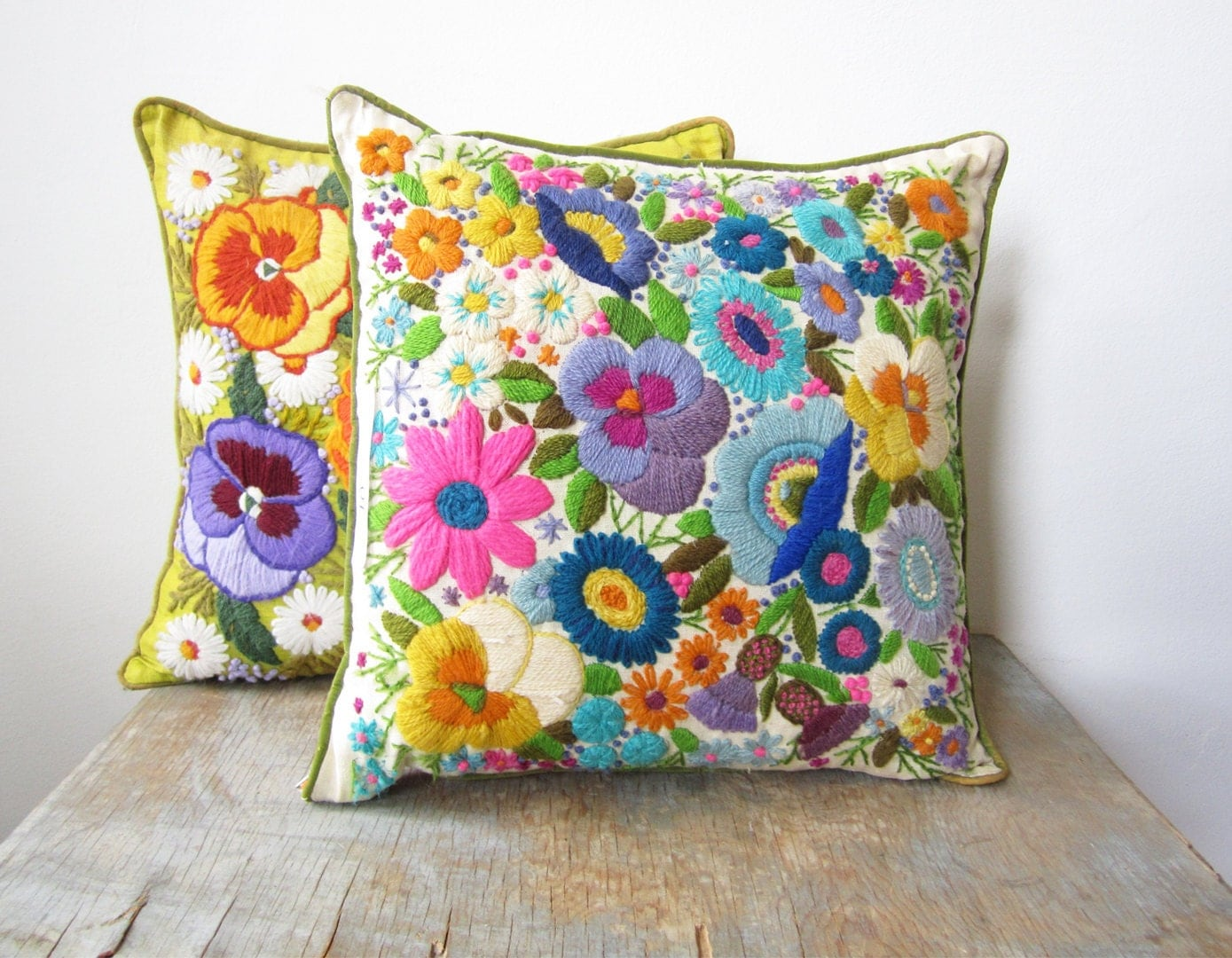 Sale vintage crewel embroidery pillow bright floral