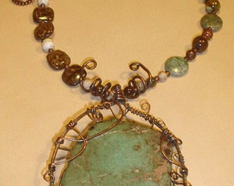 Huge Wire Wrapped Turquiose Pendant, Necklace
