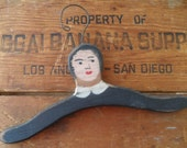 Vintage Antique Coat Hanger White and Black Americana