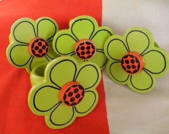 Vintage Flower Napkin Rings Set of 4 Japan Mod
