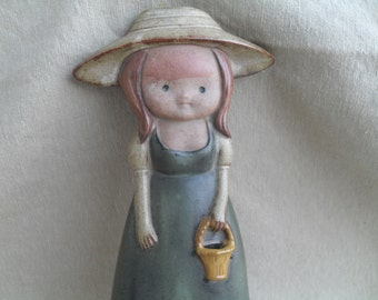 Vintage Girl Pottery Wall Pocket, Mirror and Vase Sweden Doll