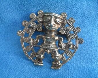 Vintage Gold Ethnic Tiki Aztec Style Pin Boho Fashion Brooch