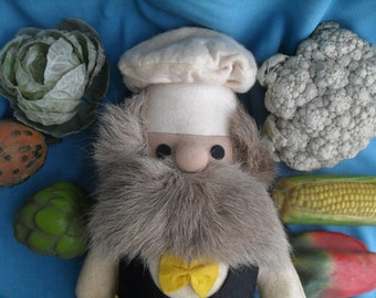 Vintage Felt Chef Doll with Kitchen Apron and Fake Fur Beard