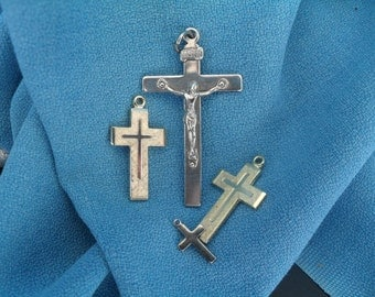 Vintage Cross and Jesus Necklace Pendant Charm Collection