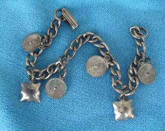 Vintage Charm Bracelet with Little Circles and Squares 50s 60s