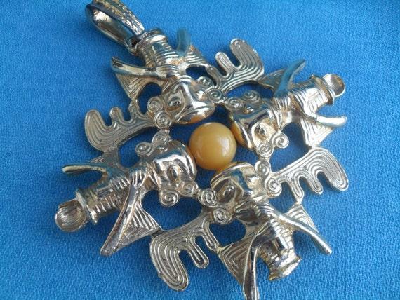 Big Chunky Vintage Boho Necklace Pendant Gold Ethnic Tiki Aztec Style