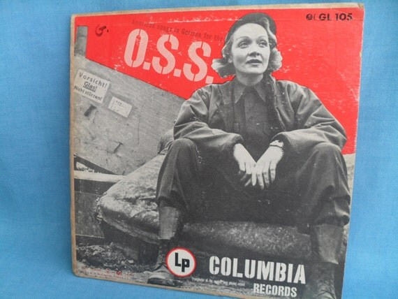 Vintage Marlene Dietrich Overseas LP Record Album with Photo Cover