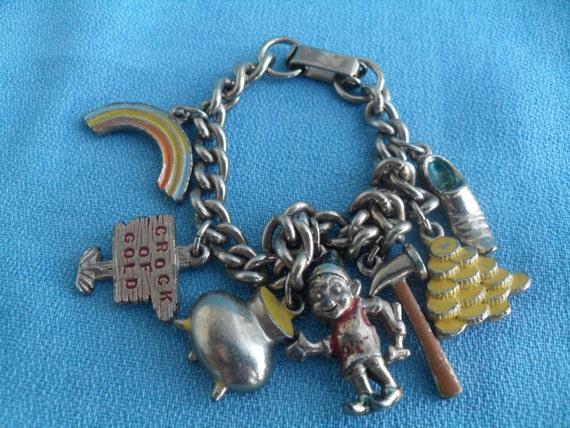 Vintage Lucky Leprechaun, Pot of Gold, Rainbow Charm Bracelet