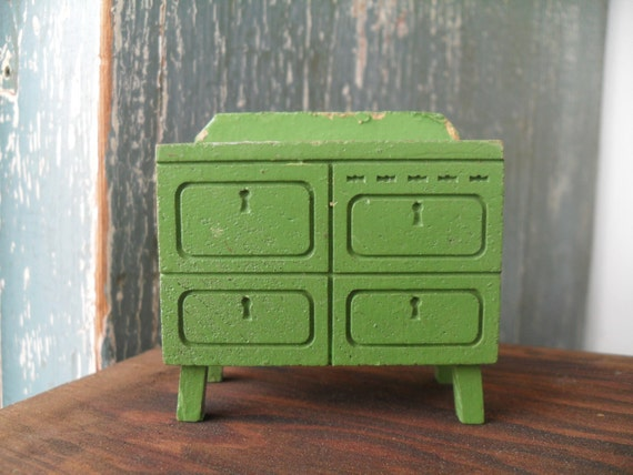 Vintage Green Wooden Dollhouse Miniature Stove Oven